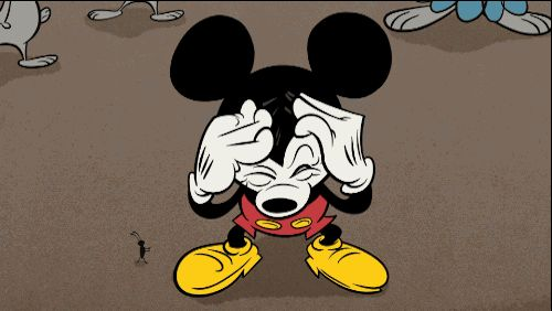 """Mickey trying to think hard in the Mickey Mouse short: """"No"""""""