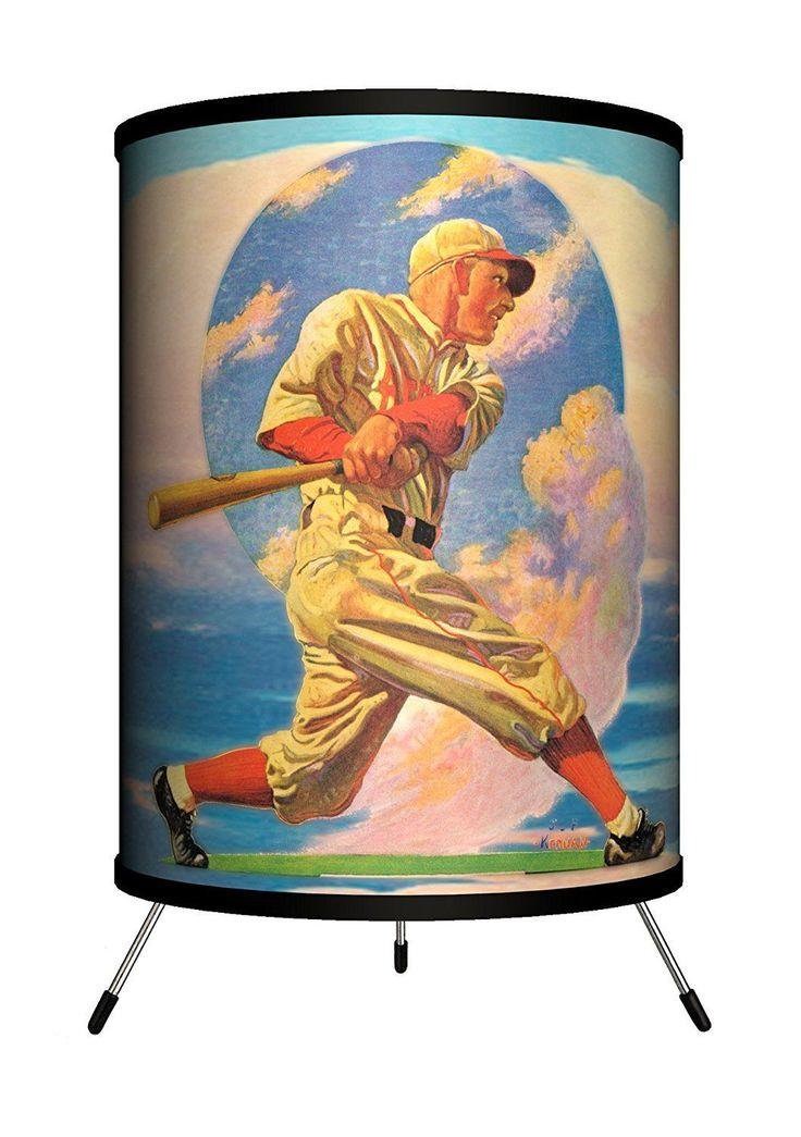 Lamp-in-a-box Tri-sep-baseb Saturday Evening Post - Baseball Batter Tripod Lamp