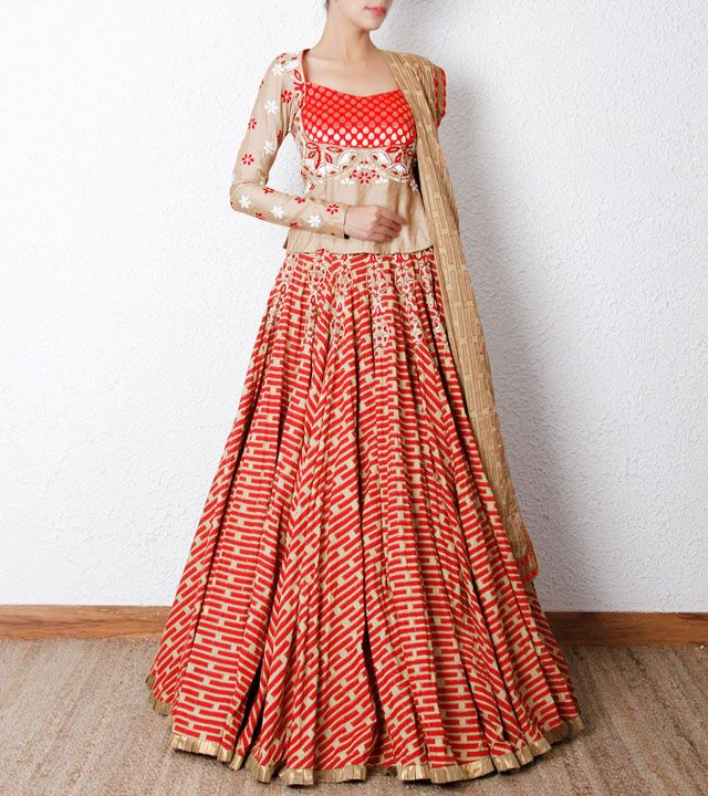 Beige  Red Printed Cotton Ghaghra Set