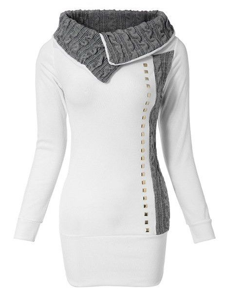 Stylish Long Sleeve Women's T-Shirt With Turn Down Collar