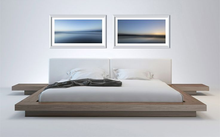 an examole of a modern bedroom with seascapes