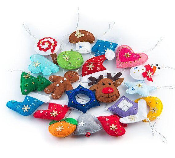 20 Pcs  Christmas tree ornaments made of felt от MiniMoms на Etsy