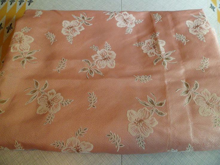vintage mid century fiberglass curtain drape panel fabric salmon pink with flocked flowers