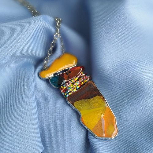 Jewellery Necklace fusing glass and a mixture of metals
