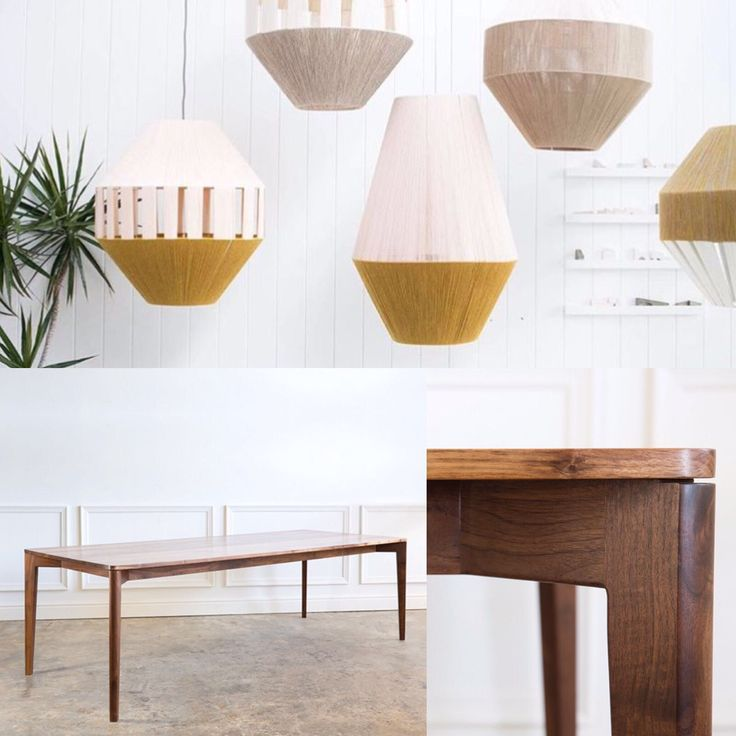 IVOR dining Table in American walnut. Understated and seductive design. Suspended Pop&Scott dreamweaver lanterns. Mood boards by Andrew Dominic Furniture. Shipping all furniture worldwide.