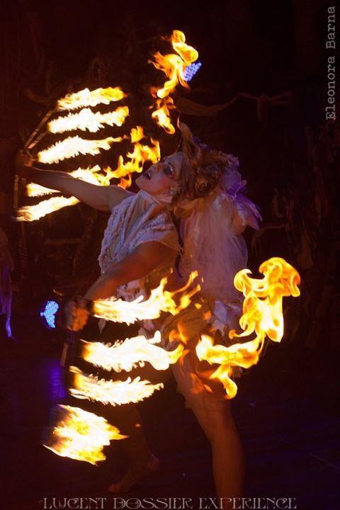 Hen on fire.