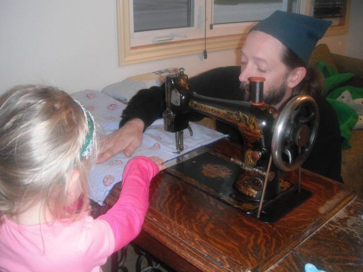 Annabella making Otto's Spiderman pillowcase.
