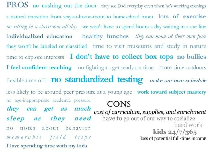 Pros and cons to homeschooling