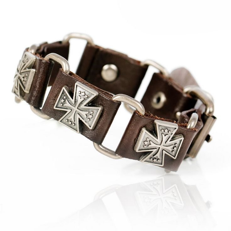 Simple Fashion Jewelry Gift Bracelet for Men Top Brand Tension Mount Leather Charm Bracelets Famous Knighthood Cross Bracelets.