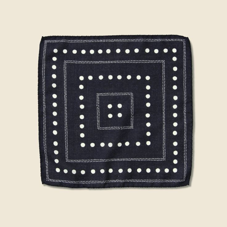 Dots Pocket Square - Navy