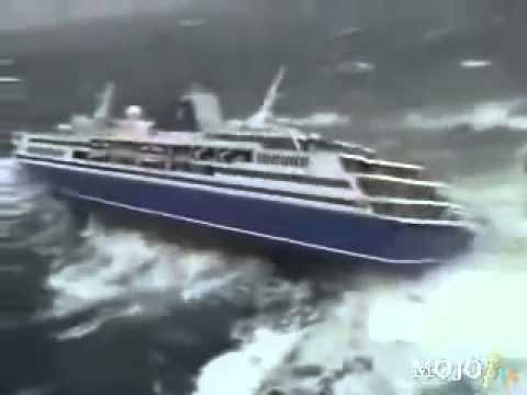 1000 Passenger Cruise Ship almost Down by the Tsunami - YouTube
