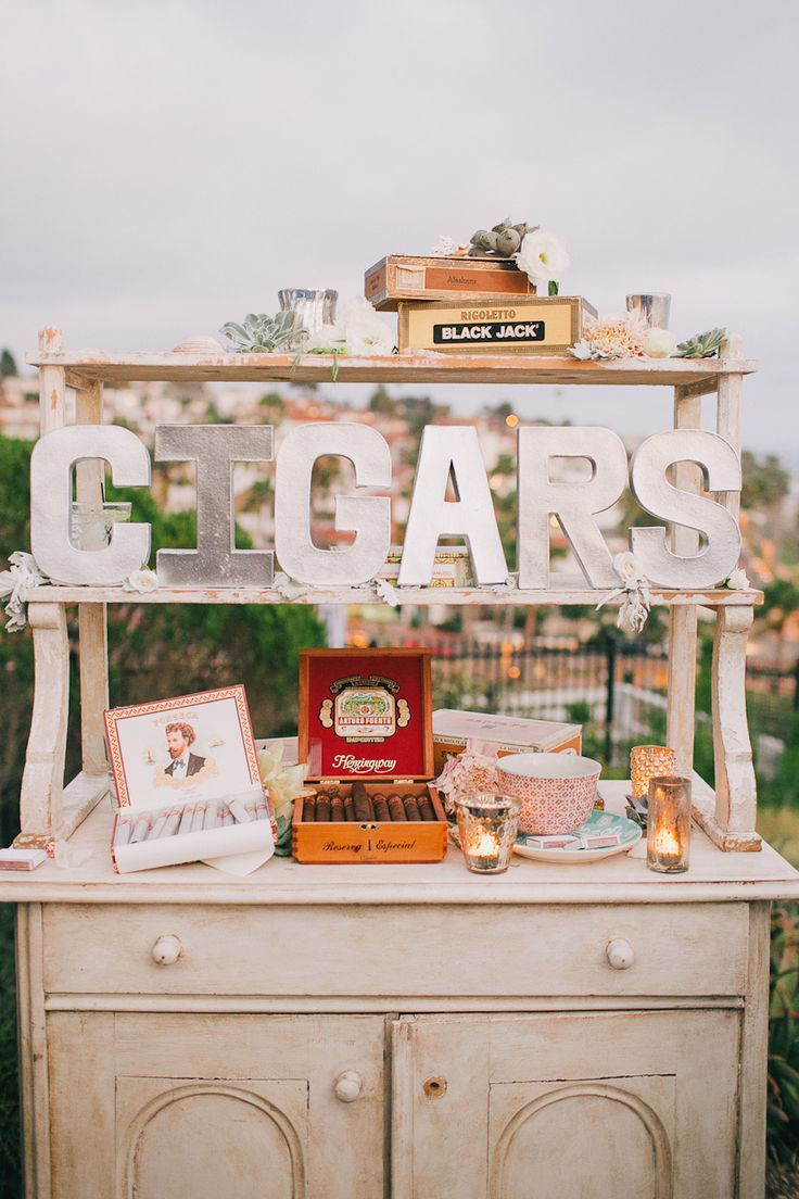 a cigar bar | Photography: Kelly Stonelake Photography - kellystonelake.com, Vintage Rentals by http://www.foundrentals.com/, Design and Styling by http://goinglovely.com/  Read More: http://stylemepretty.com/2013/10/23/beachy-bohemian-inspired-wedding-from-kelly-stonelake-photography/