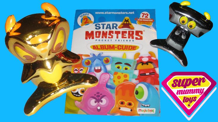 Star Monsters Series 2 Starter Pack with Ultra Rare Gold Star Monster. This video features the new series 2 Star Monsters Pocket Friends starter pack from Magic Box Toys (Magic Box Int), the people who brought us Zomlings!  Watch me and my little helpers open a Star Monsters series 2 starter pack featuring Star Monsters blind bags.  The starter pack contains 1 album guide, 1 Star Monsters arena, 6 Star Monsters and 6 tar Monsters stickers.  We also get a gold ultra rare Star Monster!