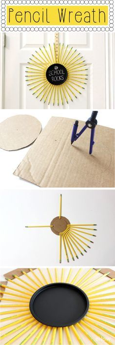 Made of #2 pencils, the wreath has a chalkboard center for writing messages and even hangs from a yard stick.
