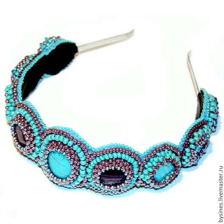 Купить Ободок бирюзово-аметистовый - бирюзовый, фиолетовый, аметистовый, Ободок с камнями, ободок для волос