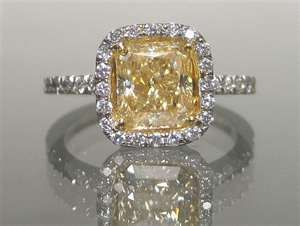 How about something a little more unique and special...a canary yellow moissanite ring!