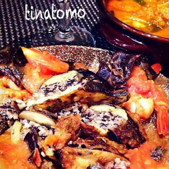 昨夜のワインのおともでした! - 36件のもぐもぐ - 茄子のひき肉ハサミ揚げ!海老とトマトとキクラゲの中華オイスター炒め煮、朝の豚汁リメイクチゲ! by tinatomo