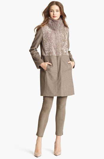 Fabiana Filippi Genuine Fox Collar & Shearling Coat available at #Nordstrom