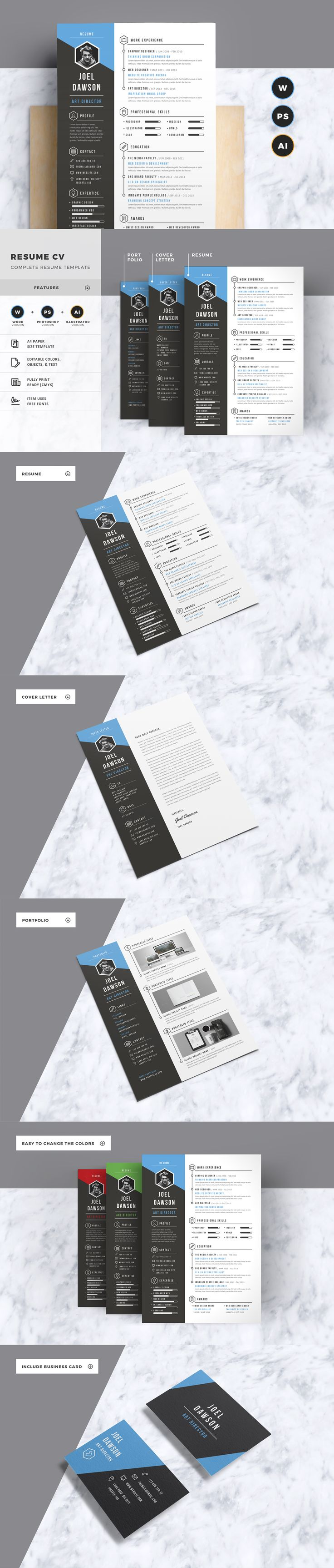 Complete Resume Template With Include Microsoft Word, Photoshop, & illustrator Version.