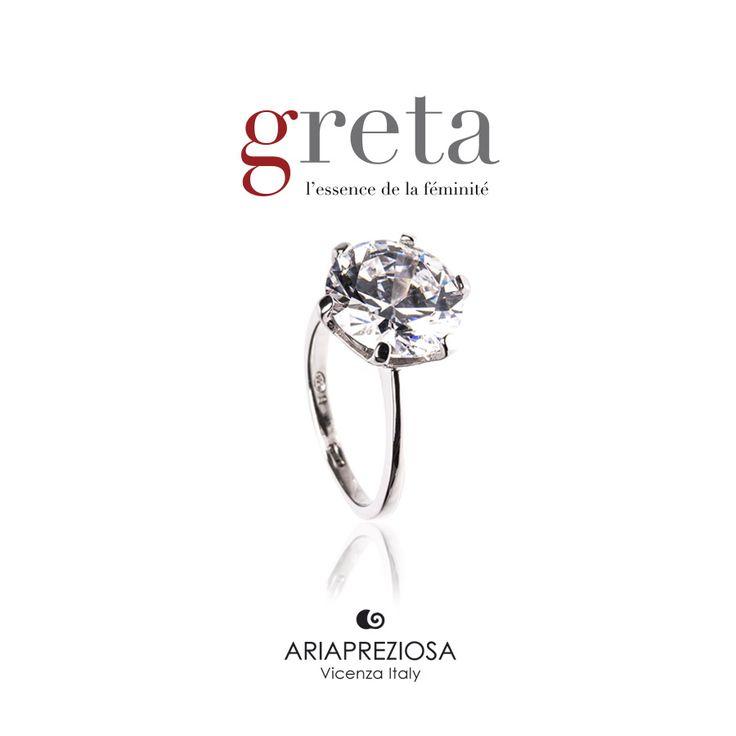 Greta - Solitario in Argento 925‰ Rodiato con Zircone taglio brillante (Cubik Zirconia) incastonato