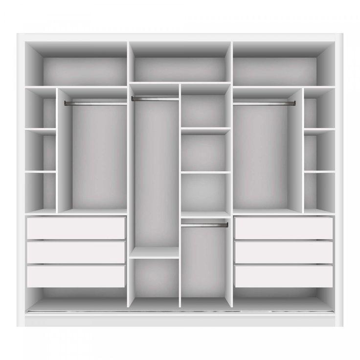 Guarda-roupa Casal com 3 Espelho 3 Portas Siena Móveis   – Quarto menino