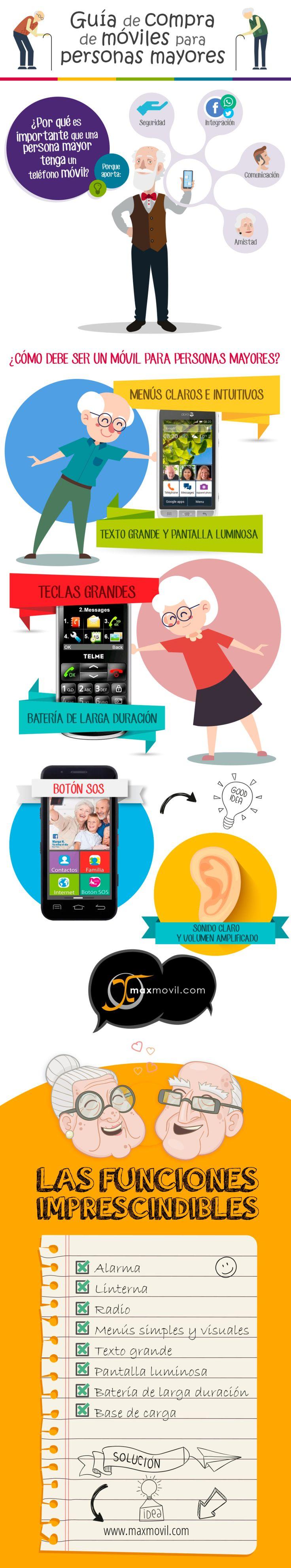 Teléfonos móviles para personas mayores #infografía