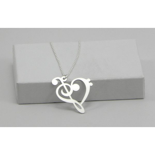 Music Note Necklace - Bass Clef and Treble Clef Heart - Sterling... ($25) ❤ liked on Polyvore featuring jewelry, necklaces, accessories, music, sterling silver heart jewelry, heart pendant, heart shaped pendant, pendants & necklaces and pendant chain necklace