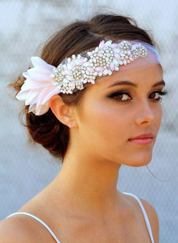 1920s Vintage Hochzeit Braut Accessories Haarband pink Spitze 1920s Vintage…