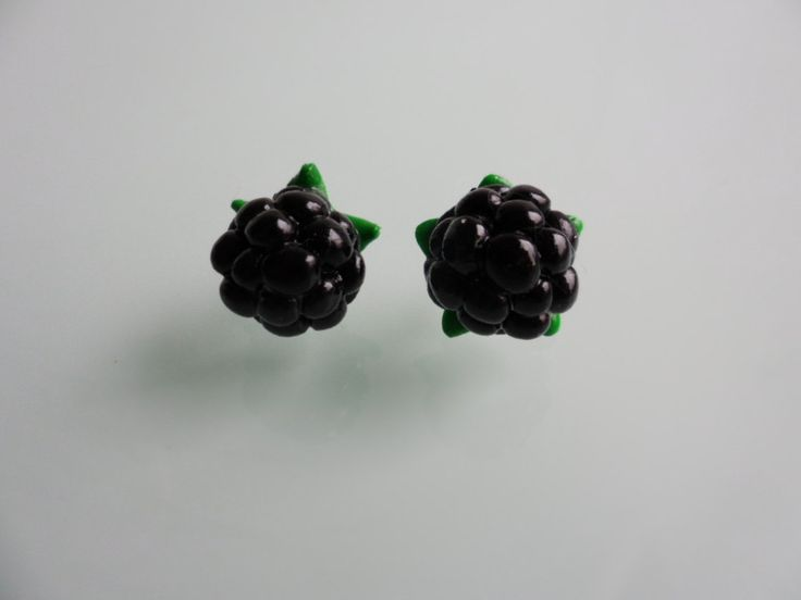 Blackberry Earrings in polymer clay, fimo, handmade earring, craft earring, fruit Earrings, polymer clay Jewelry, spring earring by TheWonderfulClay on Etsy