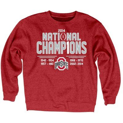 Ohio State Buckeyes 2014 College Football Playoff National Champions Commemorative 8-Time Champs Sanded Fleece Sweatshirt - Scarlet
