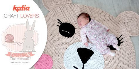 Craft Lovers ♥ Tappeto Orso all'uncinetto realizzato con Katia Big Ribbon da Follow the Crochet