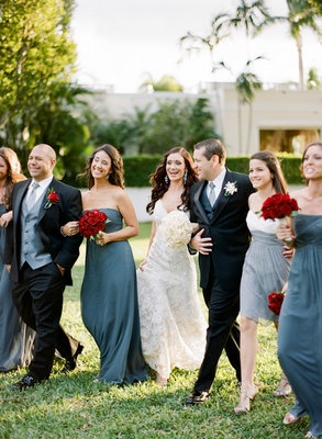 Wedding Party Grey Dresses Red Roses