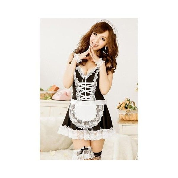 Sexy With Black Mesh Stockings Maidservant Uniform Lace Embellished... ($16) ❤ liked on Polyvore featuring costumes, ladies halloween costumes, sexy costumes, sexy halloween costumes, cosplay costumes and sexy role play costumes