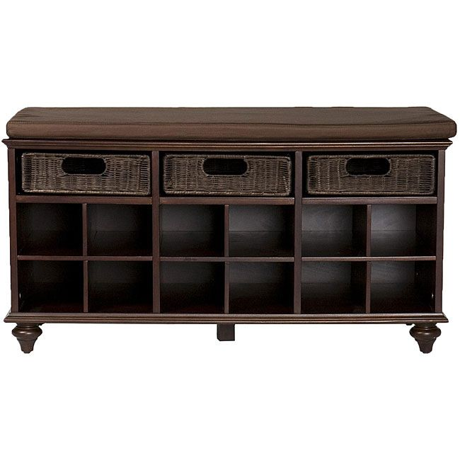 Shoe storage bench with drawers & cushion