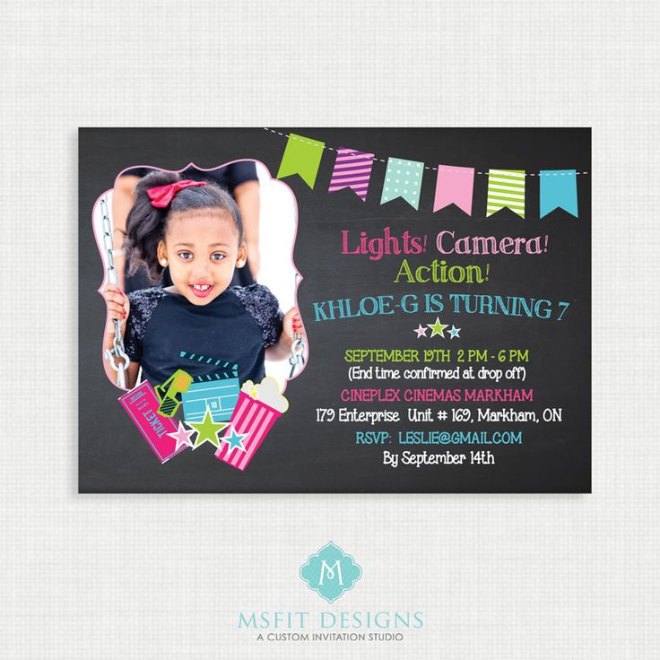 handmadest birthday party invitations%0A Movie Birthday Invitations  Movie Theatre invitation Party invite   Lights  Camera  Action