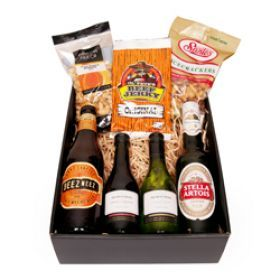 Sample of the fine selection of beer and nuts perfect for those who enjoy a drink.