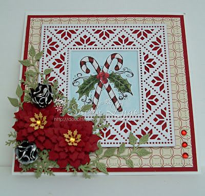 Sheila Lygo is taking us ahead to Christmas with this pretty card. #cheeryld Dies used: Mexican Tile Pattern - FRM149; Poinsettia Strip - B324; Ivy Strip - B304; Wreath Strip - B216; Build a Flower # 3 - B264; Snowflakes - C146 http://www.cheerylynndesigns.com