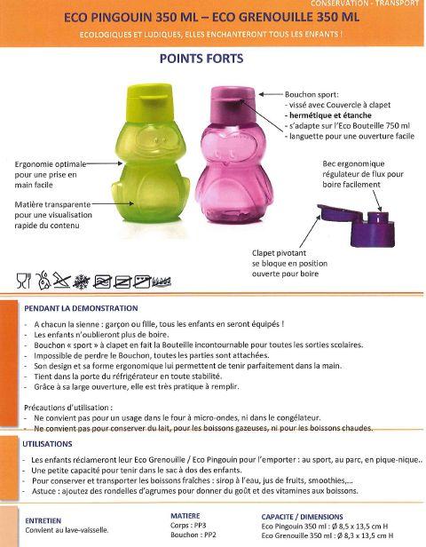 Fiche Produit Tupperware: Eco Pingouin / Grenouille