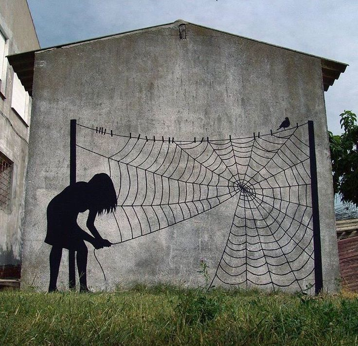 Dame araignée tisse sa toile ! / Street art.
