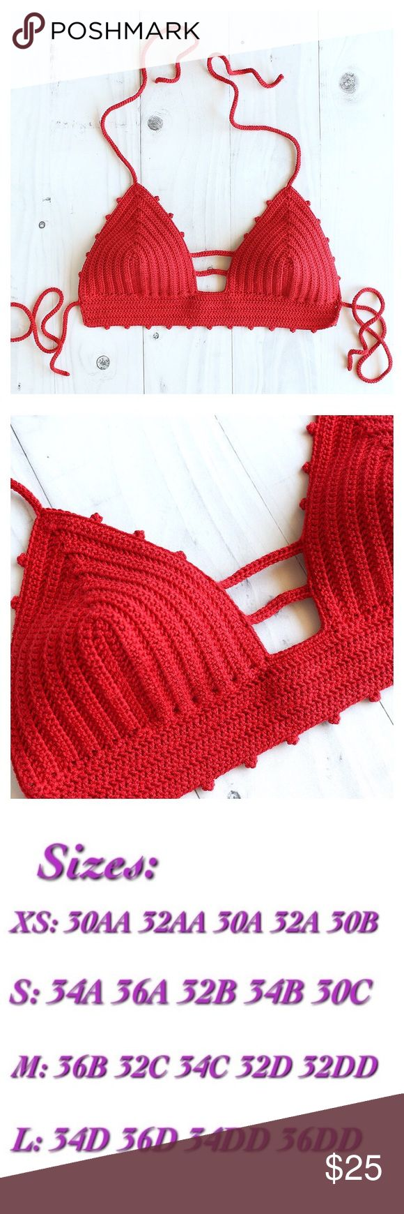 Red picot stitch bralette •hand crocheted with 100% acrylic yarn  • perfect for sunny weather ☀️  • check out size chart and allow 5-10 business days for any order to ship 💕 Tops