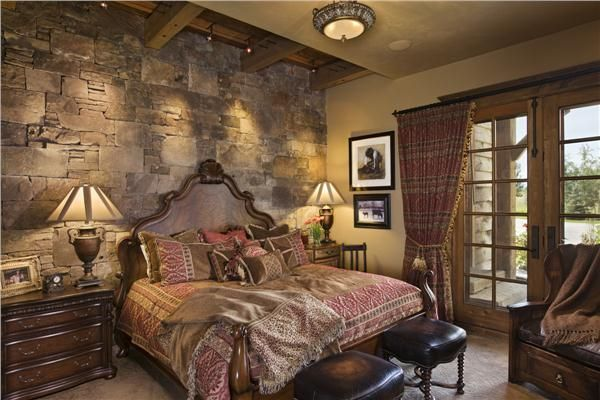 Traditional (Victorian, Colonial) Bedroom by Jerry Locati  This one is a little more up hubby's alley.  I like it except the bed, the headboard just isn't my style.