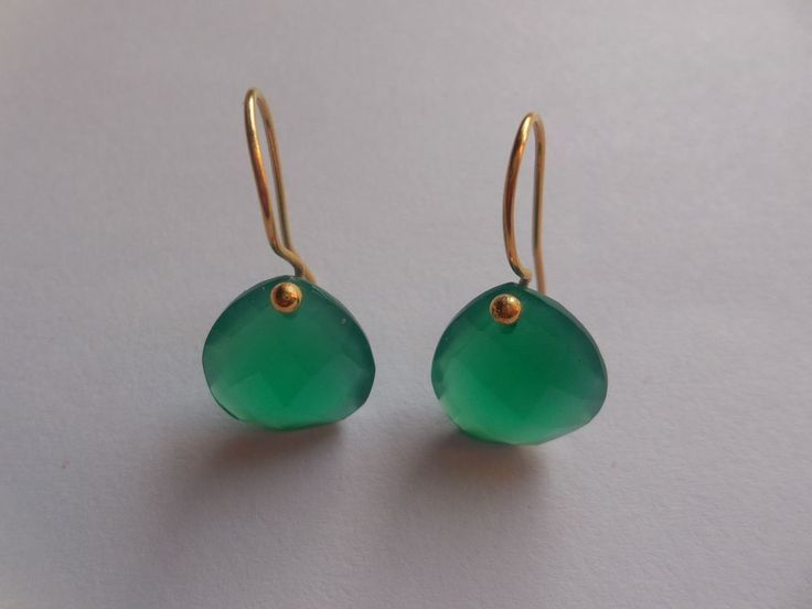 Rare Green Onyx Earring Faceted Gemstone Heart Shape Gold Plating Jewelry #Unbranded #DropDangle