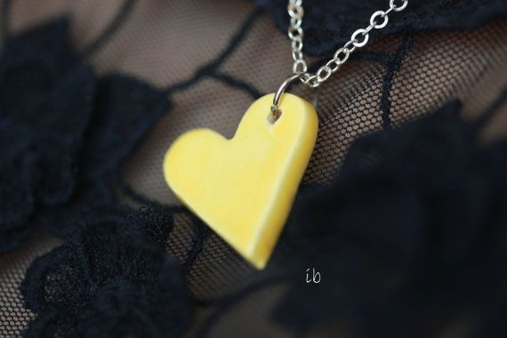 Yellow Heart Necklace Pottery Jewelry Ceramic Pendant by Ceraminic