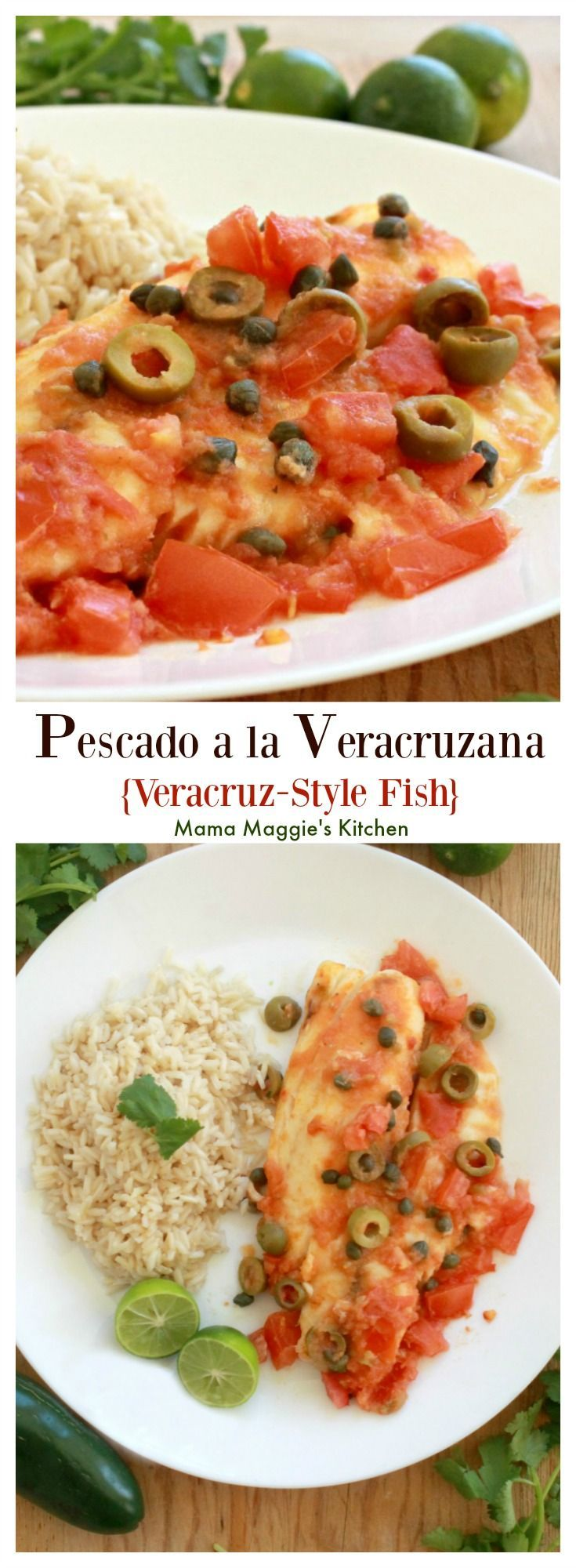 Pescado a la Veracruzana, or Veracruz-Style Fish, is a savory dish that will blow your tastebuds away. It's not very spicy with delicious bites of olive and briny capers. Enjoy! By Mama Maggie's Kitchen sponsored
