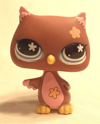 Littlest Pet Shop - MAUVE PURPLE GREAT HORN OWL #635 - Blue Flower Eyes - LPS