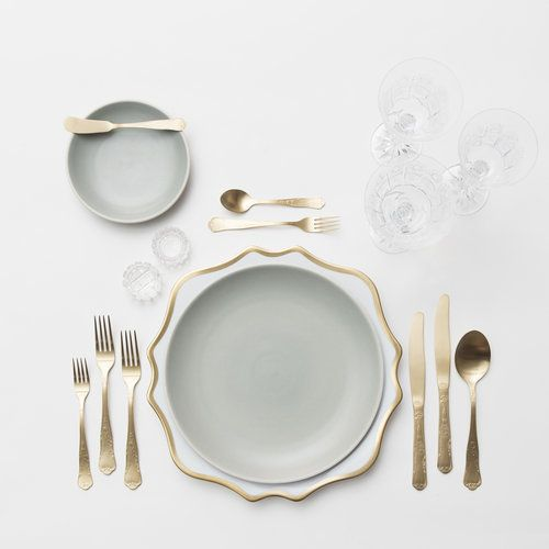 RENT: Anna Weatherley Chargers In White/Gold Heath Ceramics In Mist Chateau  Flatware In