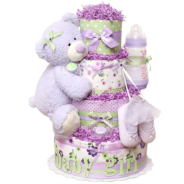 this one is cute   Baby Girl Lavender Bear Diaper Cake - $168.00 : Diaper Cakes Mall, Unique Baby shower diaper cake