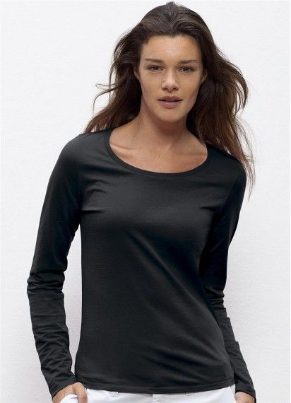 Peggy in Black. This soft and delicate long sleeve ladies' tee is fair trade and made from organic cotton in Bangladesh.