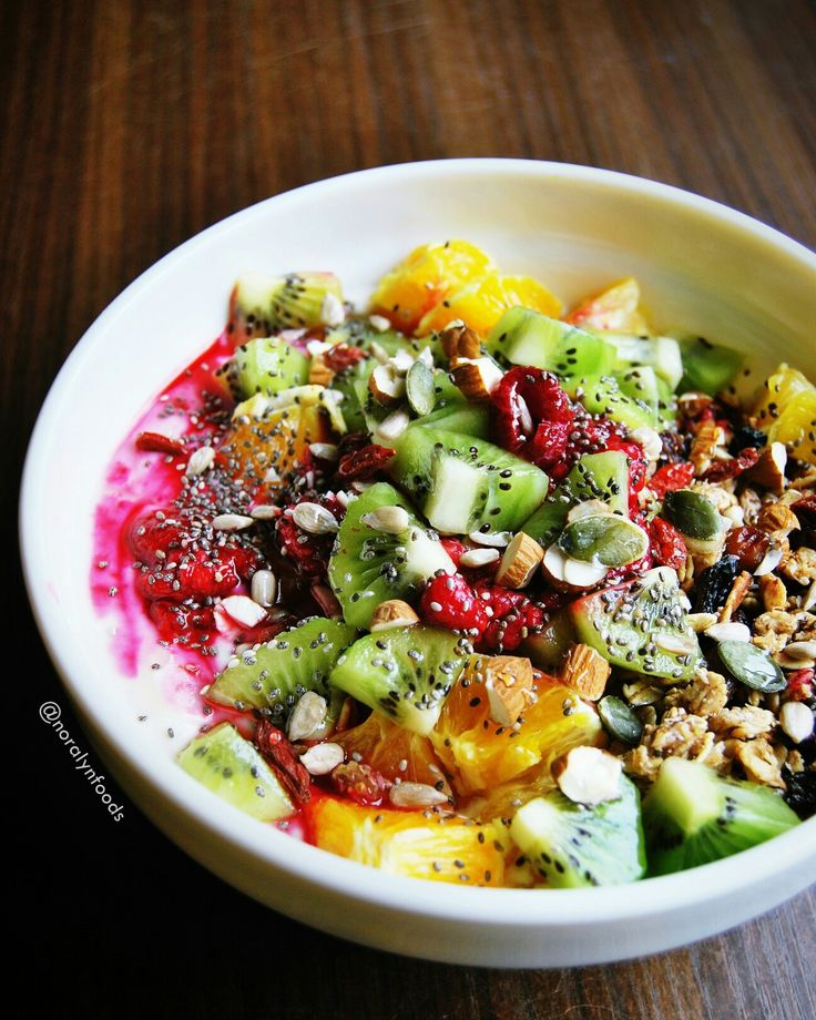 Vegan peanut butter granola with soy yogurt and fresh fruits