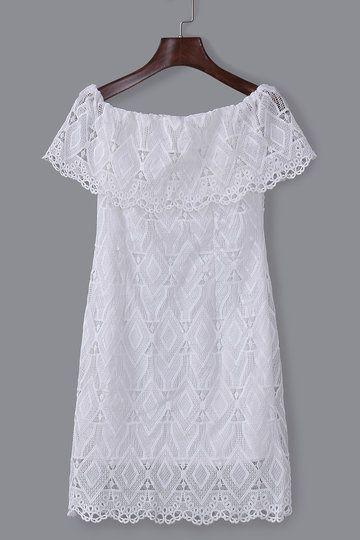 US$25.95 -YOINS #White# Off Shoulder# Lace# Mini Dress -